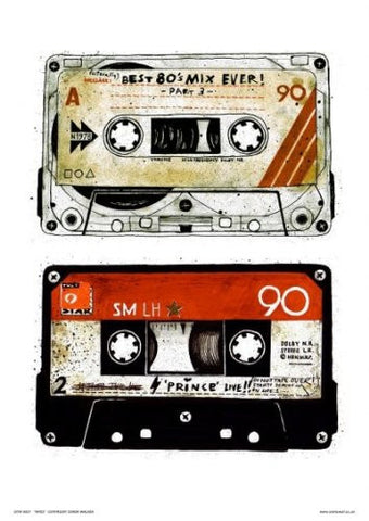Tapes Pop Art Poster Print by Simon Walker Open edition (OTW037) - On the Wall Art Print Posters & Gifts