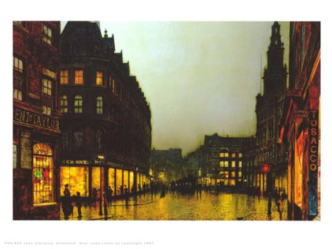 John Atkinson Grimshaw Boar Lane (Leeds) by Lamplight 1881 Art Print Poster (PDP 046) - On the Wall Art Print Posters & Gifts