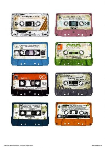 Analouge for Ever Cassette Tapes Pop Art Poster print by Simon Walker (038) - On the Wall Art Print Posters & Gifts