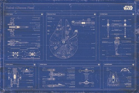 Star Wars - Rebel alliance fleet blueprint - On the Wall Art Print Posters & Gifts