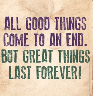 Great Things Last Forever Greetings Card 14x14cm (blank inside) - On the Wall Art Print Posters & Gifts