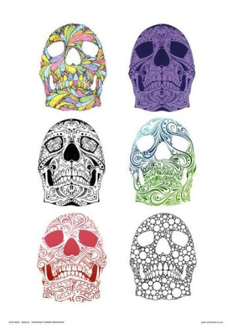 Stencil Sugar Skulls Pop Art Print Poster by Simon Heathcote (OTW032) - On the Wall Art Print Posters & Gifts