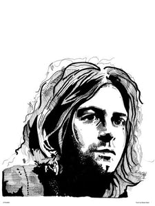 Kurt Cobain from Nirvana Portrait Art Print Poster by Becky Mann (OTW0062) - On the Wall Art Print Posters & Gifts