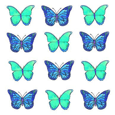 Blue Butterflies Greetings Card 14x14cm (blank inside) - On the Wall Art Print Posters & Gifts