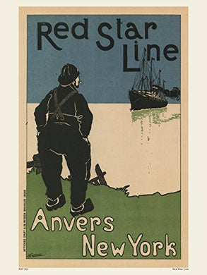 Art nouveau Poster Art Print Red Star Line - On the Wall Art Print Posters & Gifts