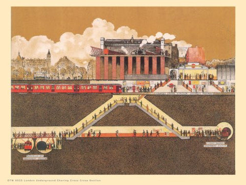 London Underground Charing Cross Cross Section Vintage Railway Poster OTW 0023 - On the Wall Art Print Posters & Gifts