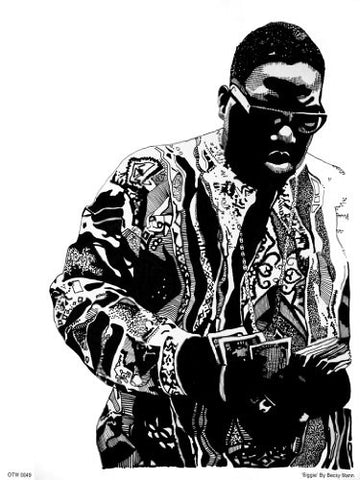 The Notorious B.I.G. Portrait Art Print Poster by Becky Mann (OTW0049) - On the Wall Art Print Posters & Gifts