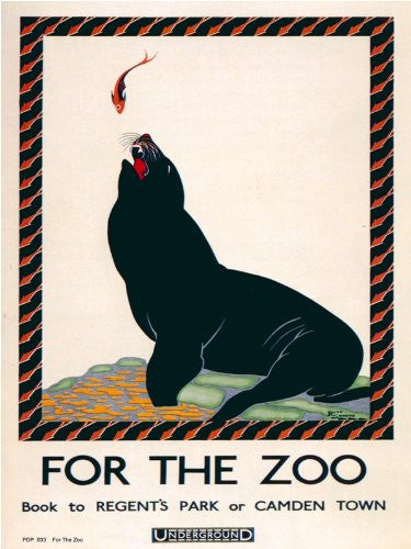 For the Zoo London Underground Vintage Railway Poster Art Print 40x30cm PDP 034 - On the Wall Art Print Posters & Gifts