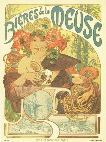 Art nouveau Poster Art Print by Alphonse Mucha bieres de la meuse (PDP 035) - On the Wall Art Print Posters & Gifts