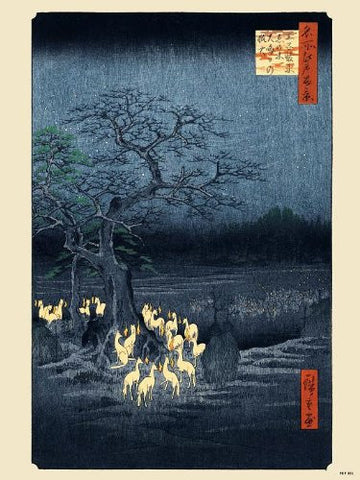 Hiroshige Japanese Poster Art Print foxfire on new year's night under the enoki tree near Oji (PDP 001) - On the Wall Art Print Posters & Gifts