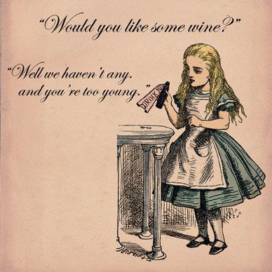 Alice in Wonderland Would you like some wine Greetings Card 14x14cm - On the Wall Art Print Posters & Gifts