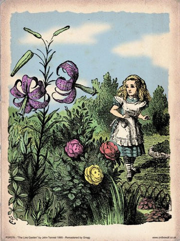 Alice in Wonderland Flower Garden Vintage Art Print Poster 40x30cm (PDP 076) - On the Wall Art Print Posters & Gifts