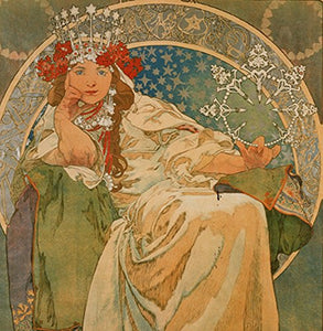 "Alphonse Mucha Princess 14x14cm Greetings Card ""Blank Inside"" - On the Wall Art Print Posters & Gifts"