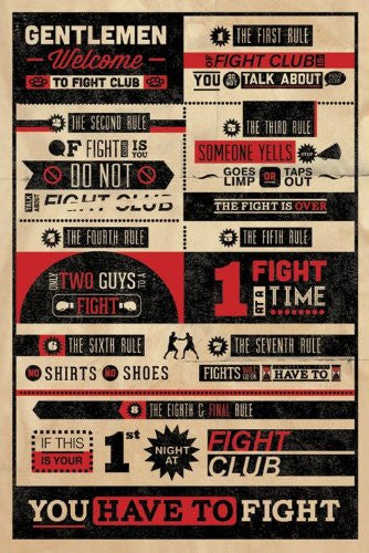 FIGHT CLUB RULES INFOGRAPHIC Regular Poster (61x91.5cm) - On the Wall Art Print Posters & Gifts