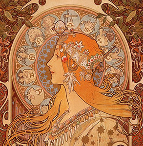 "Alphonse Mucha Zodiac 14x14cm Greetings Card ""Blank Inside"" - On the Wall Art Print Posters & Gifts"
