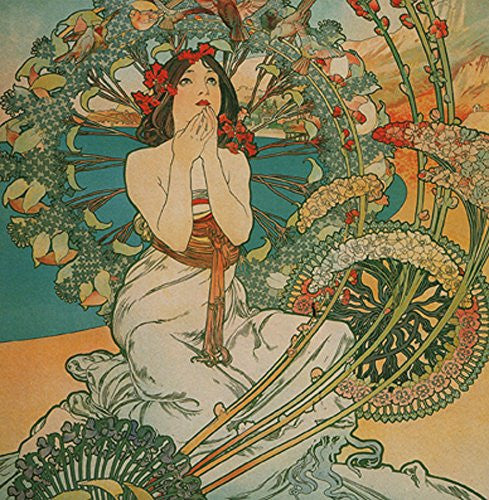 Alphonse Mucha Monaco 14x14cm Greetings Card