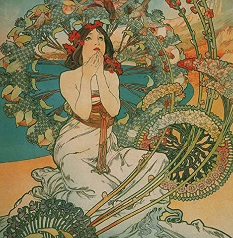 "Alphonse Mucha Monaco 14x14cm Greetings Card ""Blank Inside"" - On the Wall Art Print Posters & Gifts"