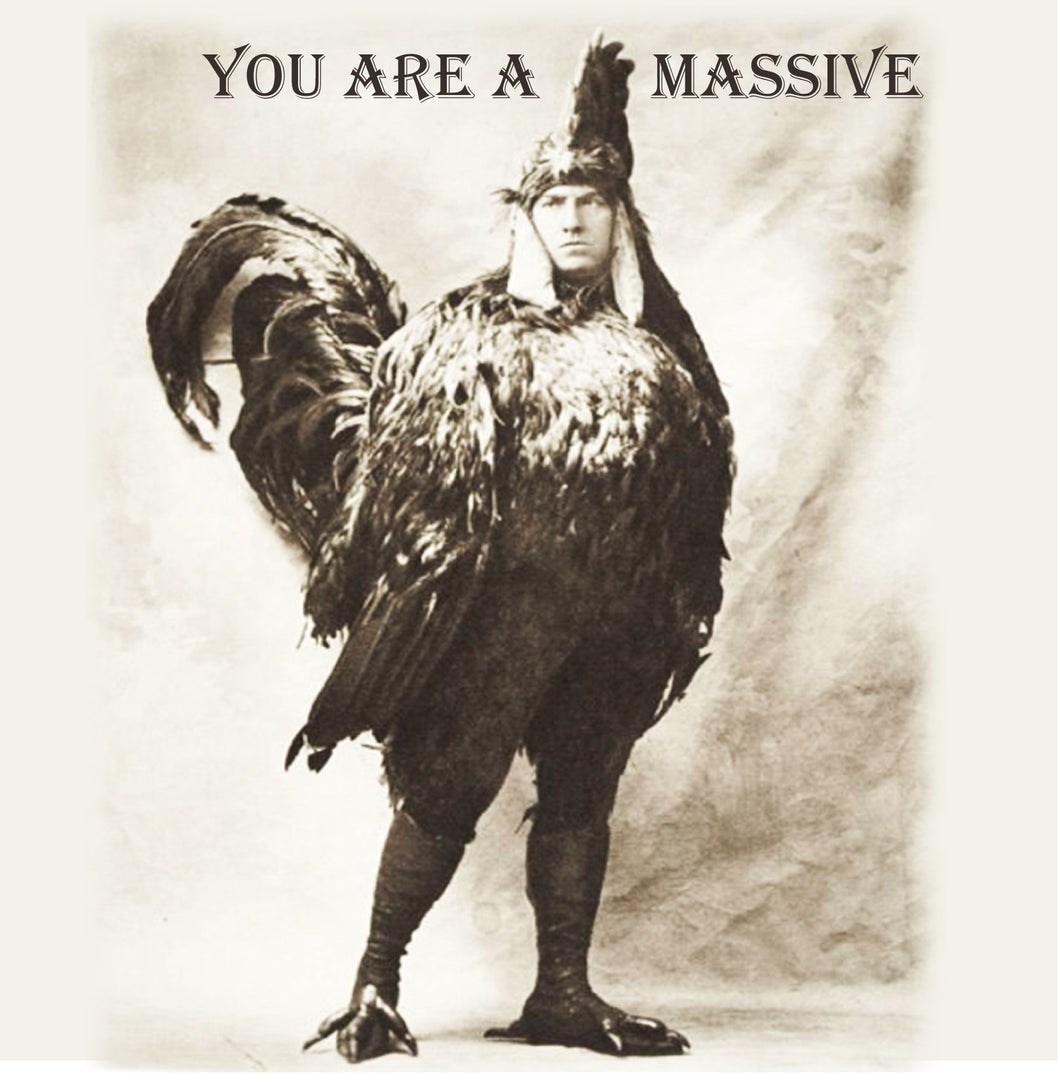 Massive Cock Vintage Comedy 14x14cm Greetings card (Blank Inside)