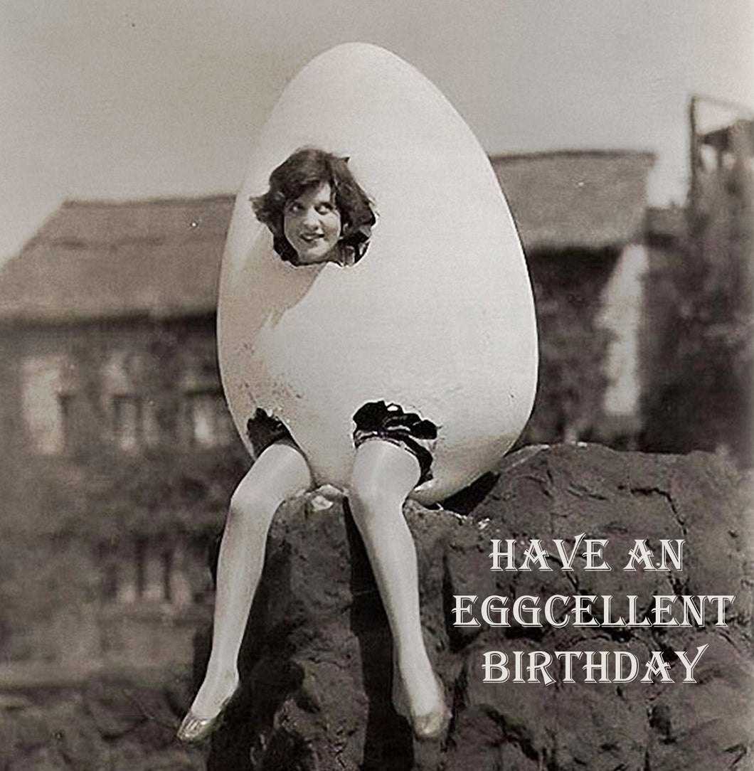 Eggcellent Birthday Vinatge Comedy 14x14cm Greetings card (Blank Inside)