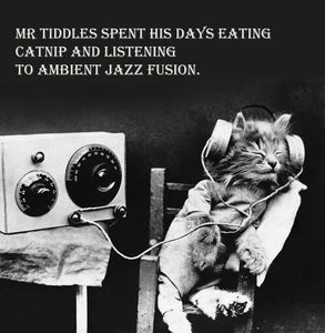 Ambient Jazz Cat Vinatge Comedy 14x14cm Greetings card (Blank Inside)