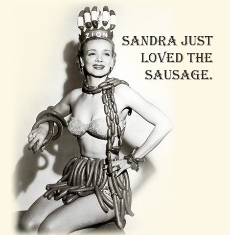 Sausage Lover Vinatge Comedy 14x14cm Greetings card (Blank Inside)