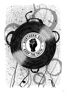 Northern Soul, Keep The Faith, Records, Vinyl, Wigan Casino Art Print Poster 50x70cm