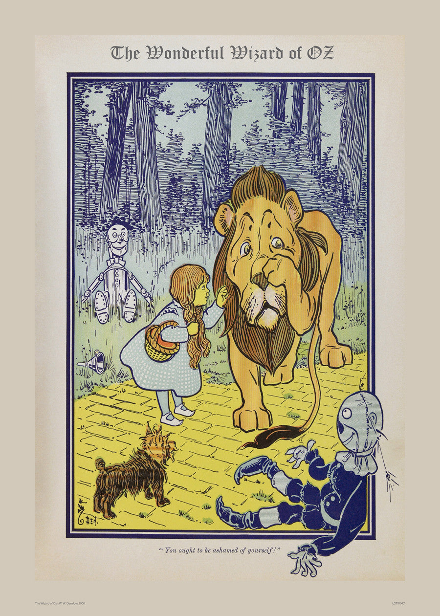 Wizard of Oz, The Cowardly Lion Vintage Art Print Poster 50x70cm