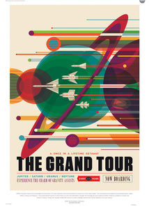 The Grand Tour, The Great Voyage Space Travel, Tourism NASA, Solar System, Planets, Rocketship Art Print Poster 50x70cm