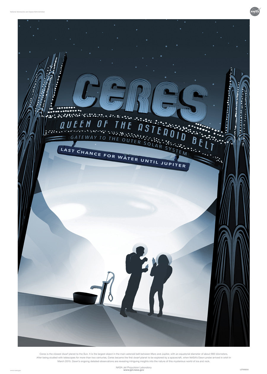 Ceres, Space Travel, Tourism NASA, Solar System, Planets Art Print Poster 50x70cm