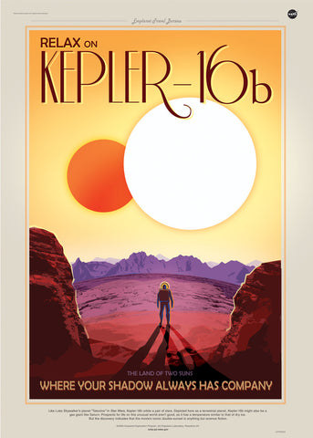 Kepler16b, Space Travel, Tourism NASA, Solar System, Planets Art Print Poster 50x70cm
