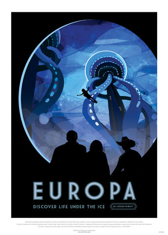 Europa, The Great Voyage, Space Travel, Tourism NASA, Solar System, Planets Art Print Poster 50x70cm