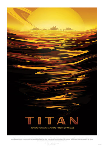 Titan, River, The Great Voyage, Space Travel, Tourism NASA, Solar System, Planets Art Print Poster 50x70cm