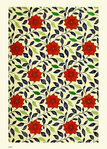 Flower Pattern, Vintage floral design, wallpaper Art Print Poster 50x70cm