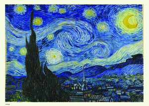 Vincent van Gogh, The Starry Night, Post Impressionism, Painting Art Print Poster 50x70cm
