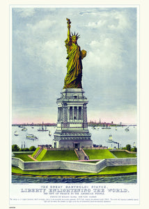 New York Statue of Libery, Vintage American Illustrated Art Print Poster 50x70cm