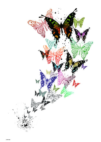 Butterflies, Contemporary Illustration Graphic Art Print Poster 50x70cm