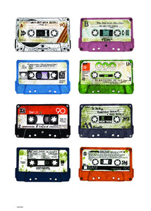 Analogue Forever, Cassette Tape Contemporary Illustration Graphic Art Print Poster 50x70cm