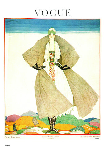 Vogue Magazine Cover June 1920, Vintage 20s Fashion Illustration Art Print Poster 50x70cm