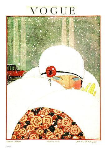 Vogue Magazine Cover June 1919, Vintage Winter Fashion Illustration Art Print Poster 50x70cm