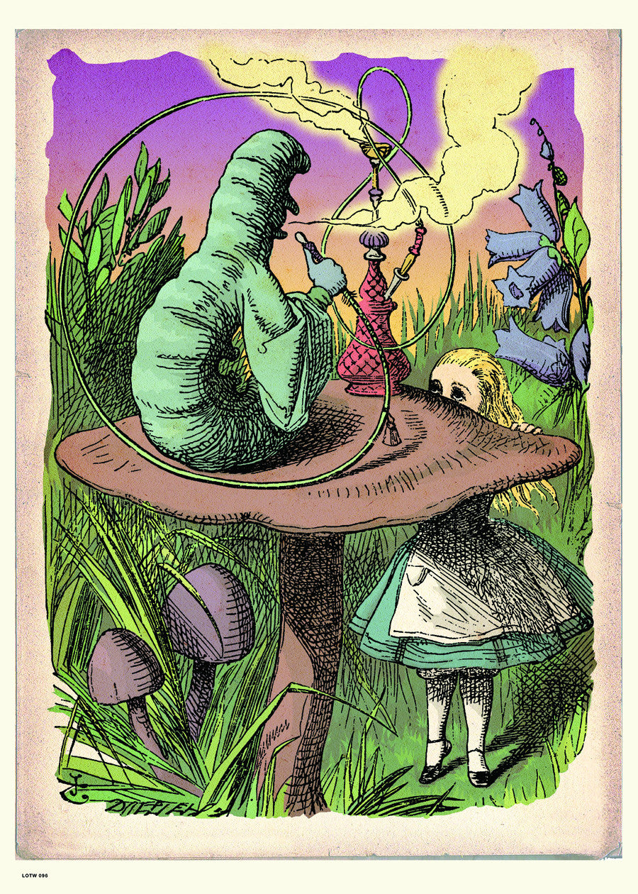 Alice In Wonderland, The Caterpillar, John Tenial Colour Illustration Art Print Poster 50x70cm