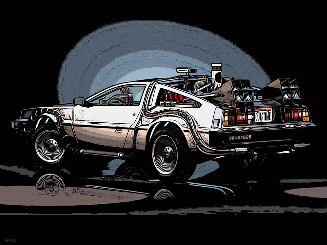 Delorian Back to the Future Poster Art Print 30x40cm