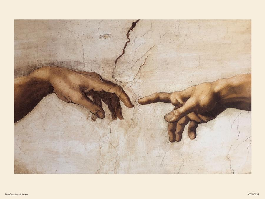 Michelangelo Creation of Adam (close up) Art Print Poster 30x40cm