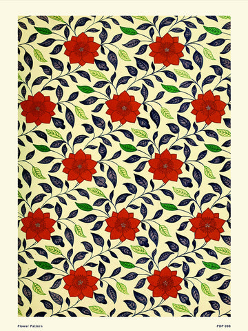 Flower Pattern Natural History 30x40cm Art Poster Print