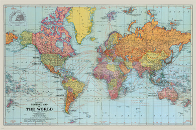 STANFORDS GENERAL MAP OF THE WORLD (COLOUR) 61x91.5cm Poster