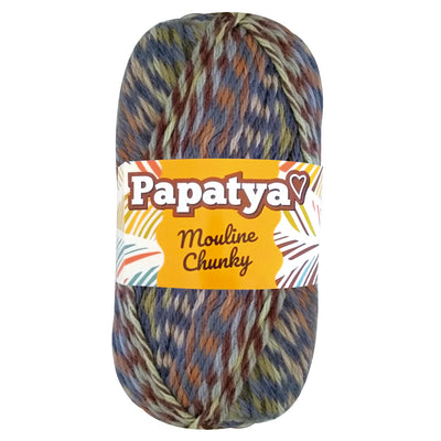 Estambre Papatya Mouline Chunky, Marca Sweet Crochet, Madeja con 100g