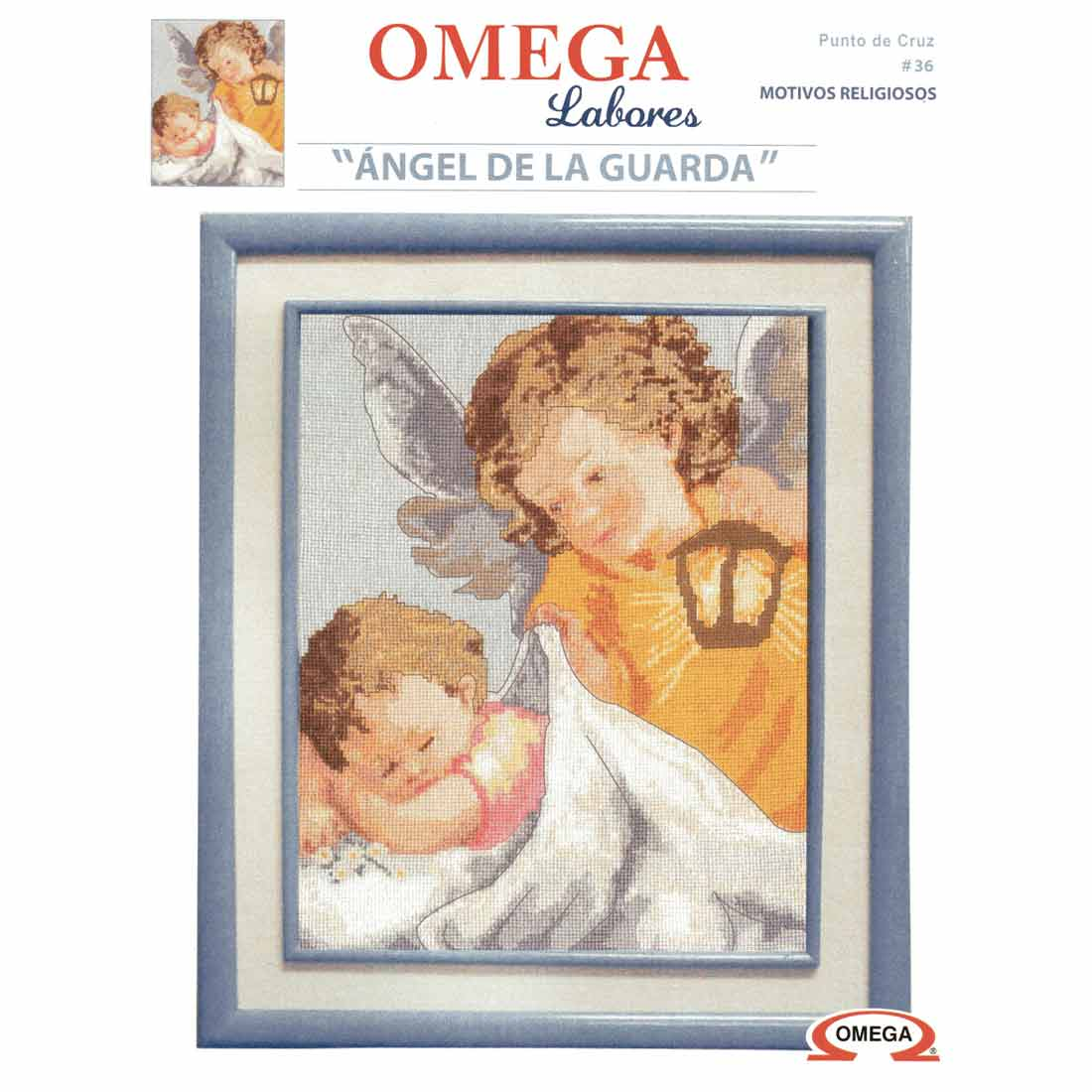 Kit para Bordar en Punto de Cruz Marca Omega, Ángel de la Guarda #36