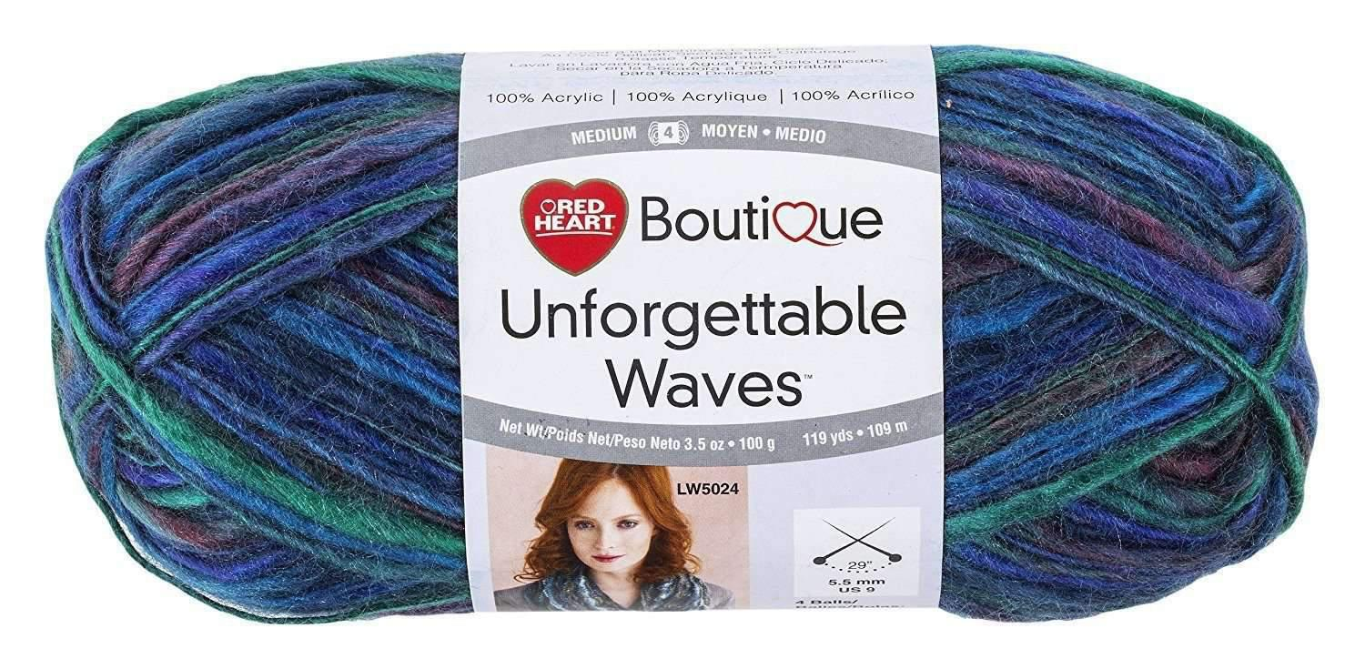 Estambre Unforguettable Waves, marca Red Heart Boutique, bolsa con 3 madejas de 100 g. - Tejemania todo para el tejido y crochet