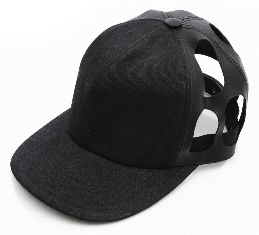 Rick Owens Coated Cotton and Leather Cut Out Baseball Cap Hat