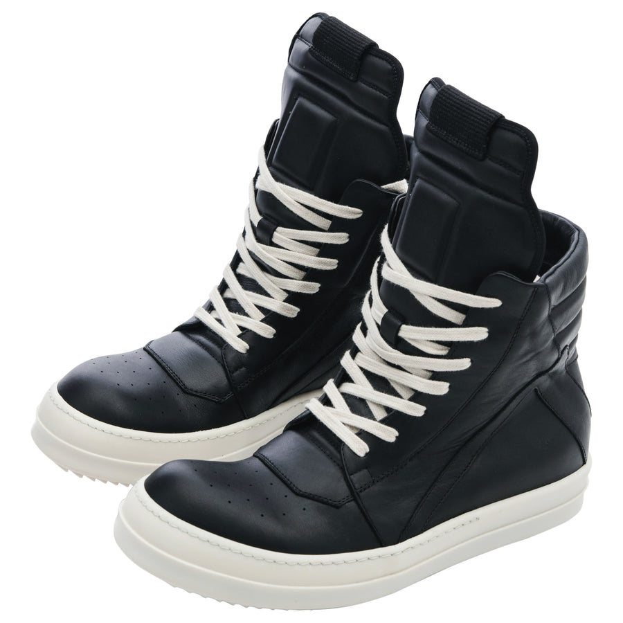 low priced eb84e 8f60b Rick Owens Geobasket Black Leather High Top Sneakers