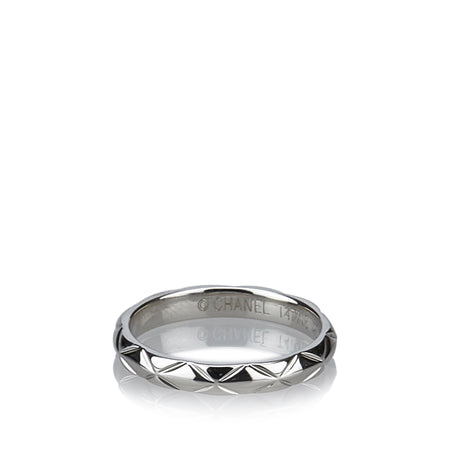 Chanel Platinum Matelasse Quilt Thin Band Pinky Ring by Baumer 45 - 3-¼